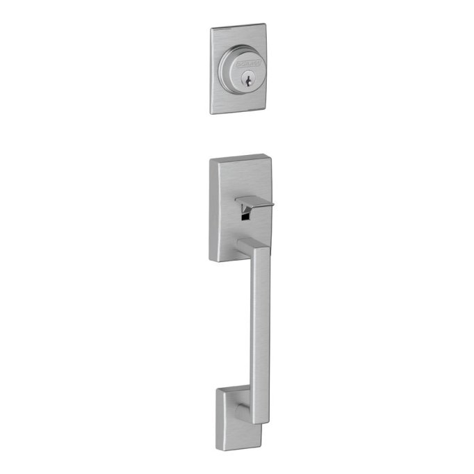 schlage century amazon brushed chrome mid century handleset door