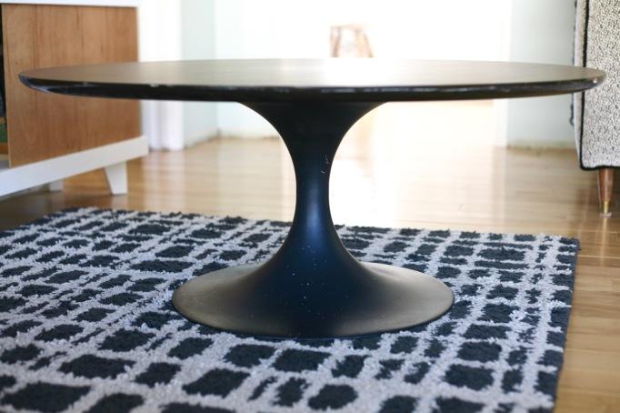mid century vintage tulip table coffee black laminate burke saarinen