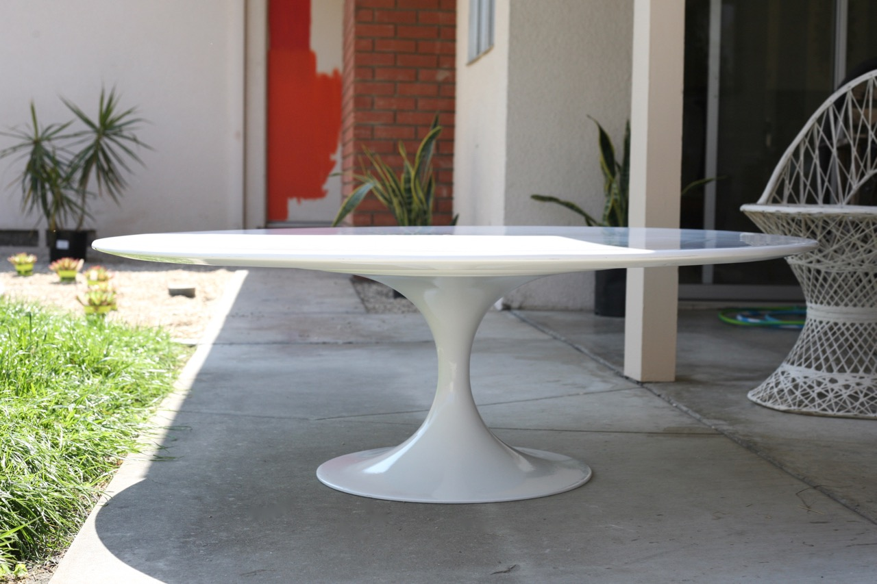 Elegant ... Mid Century Tulip Coffee Table Base Burke Vintage Reproduction White  Painted