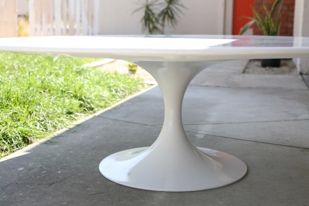 mid century tulip coffee table base burke vintage reproduction white painted