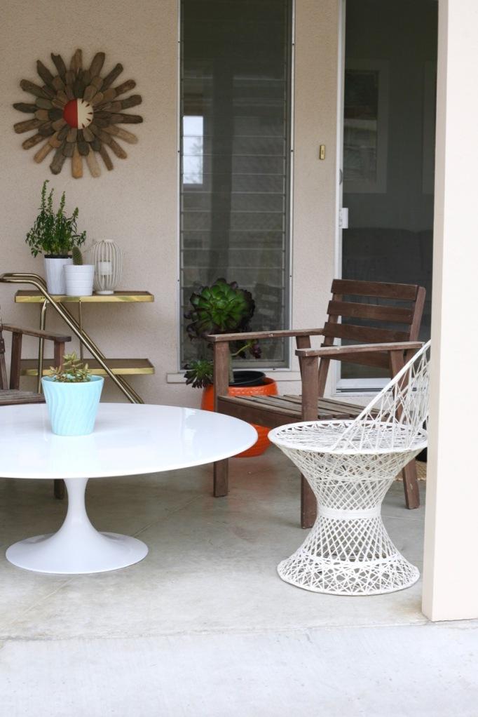 mid century tulip table coffee patio saarinen burke white woodard spun fiberglass chair
