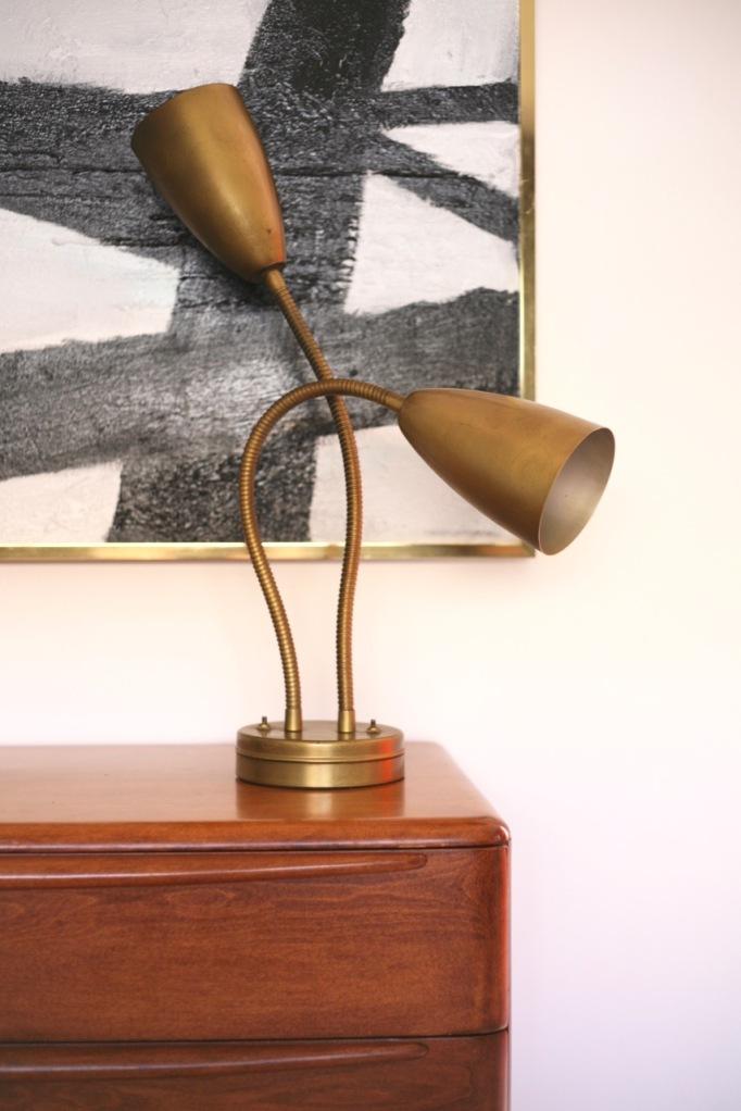 mid century double gooseneck lamp brass cone light