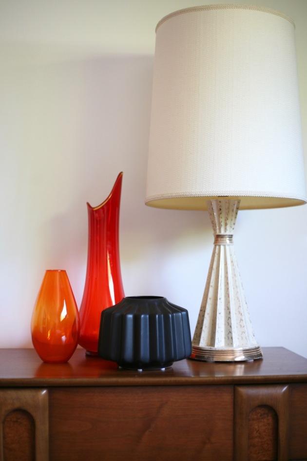 mid century orange viking glass ceramic lamp