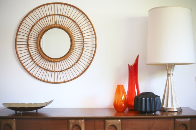 mid century bedroom dresser walnut lane target threshold wicker rim round mirror orange viking glass