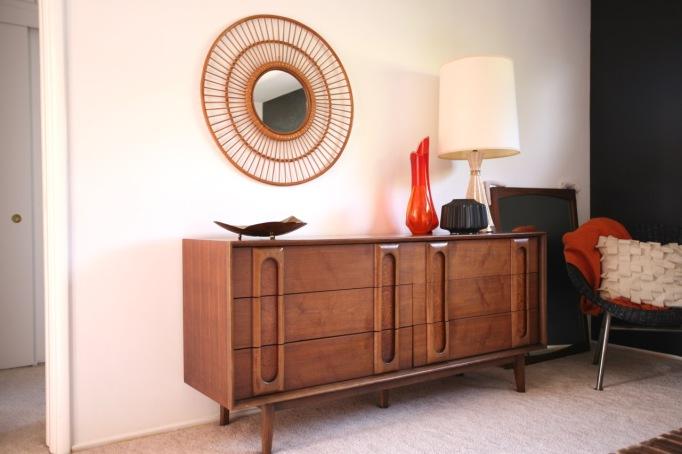 mid century bedroom dresser walnut lane target threshold wicker rim round mirror