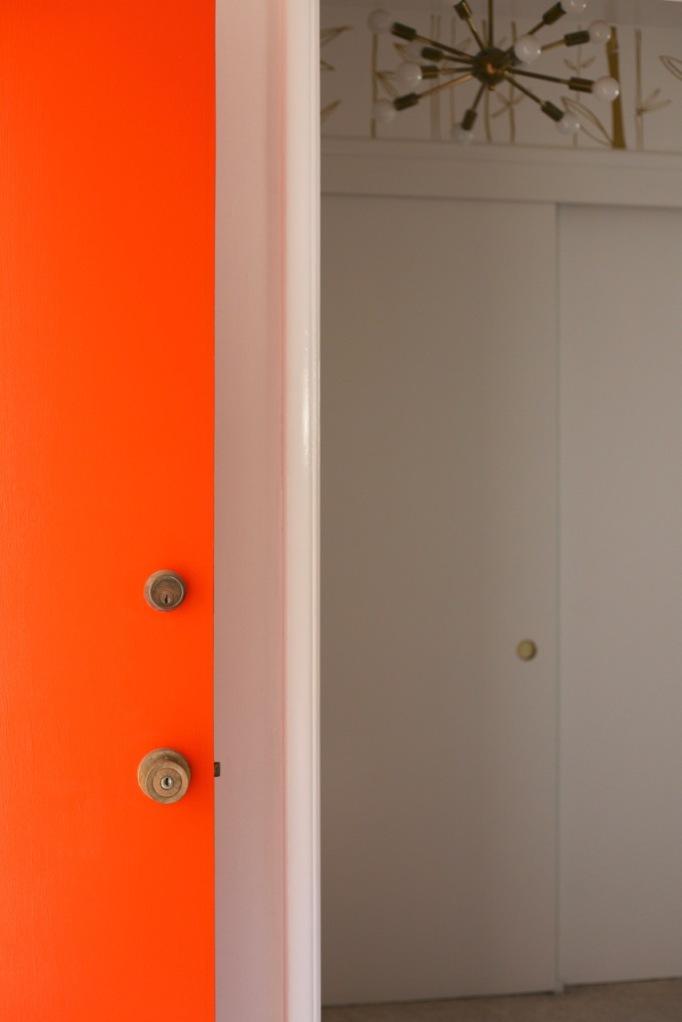 mid century orange door sputnik light