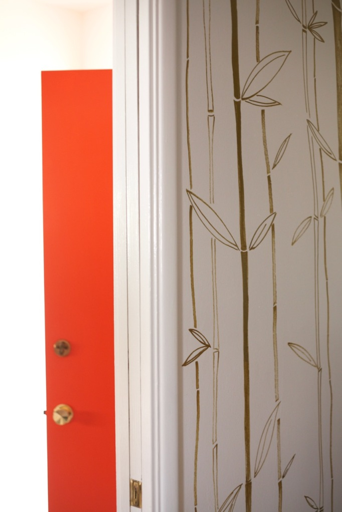 painted drawn wallpaper bamboo gold orange door