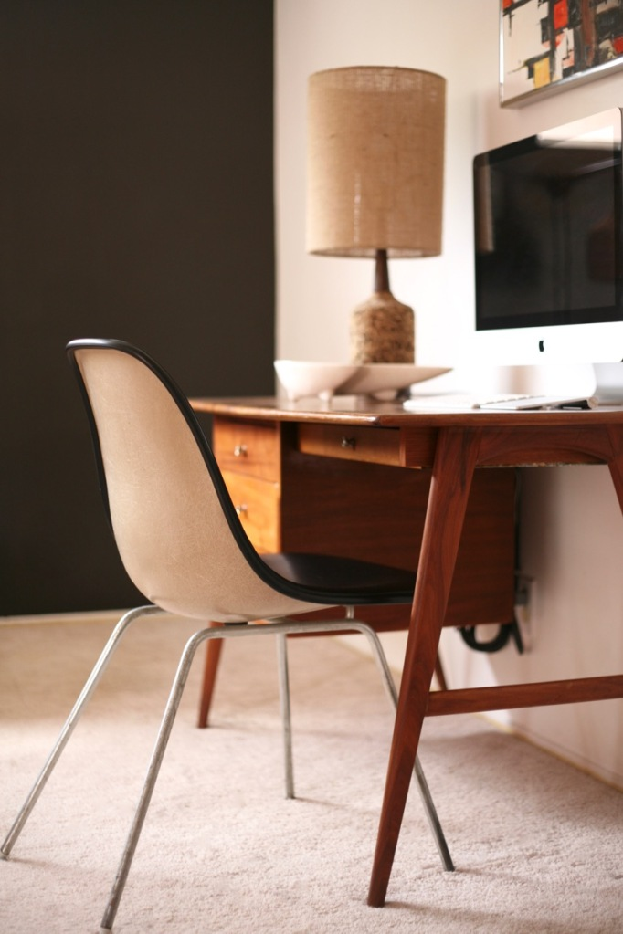 mid century modern danish teak desk eames chair black accent wall