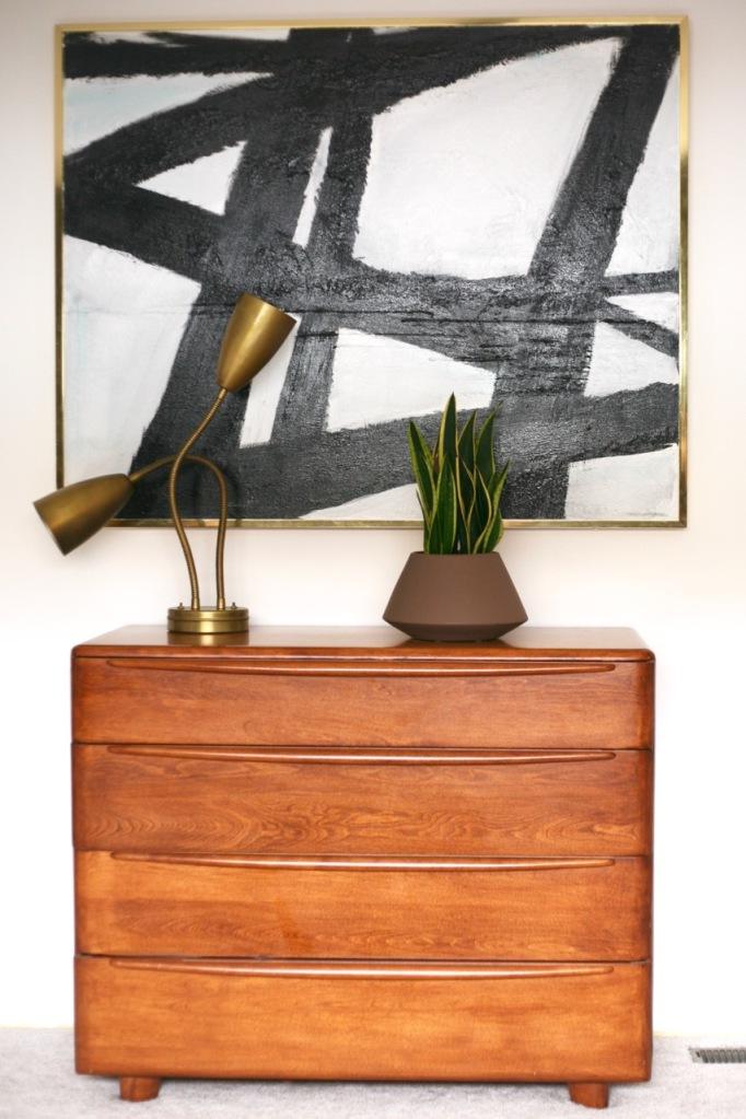 mid century modern bedroom heywood wakefield encore dresser abstract painting white walls