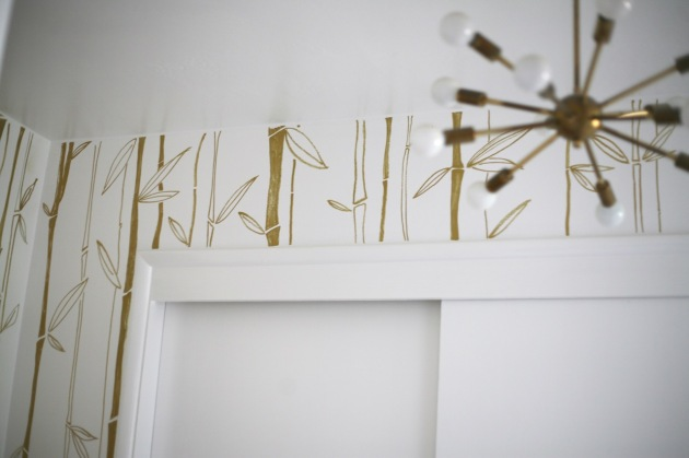 diy painted wallpaper bamboo gold white closet