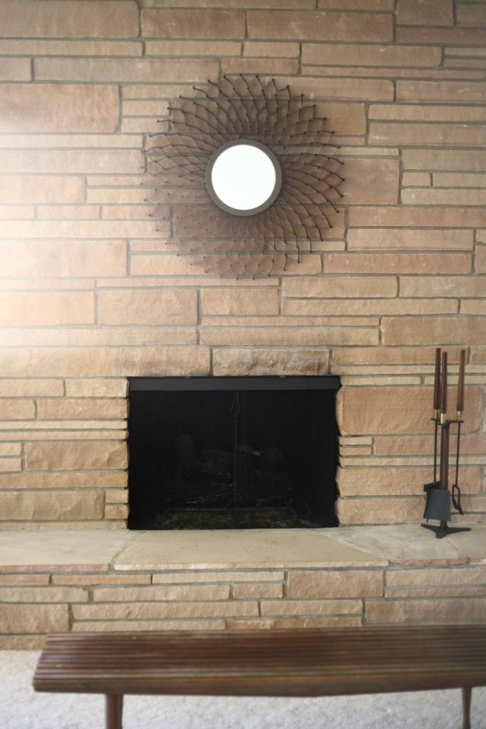 mid century rock fireplace tools