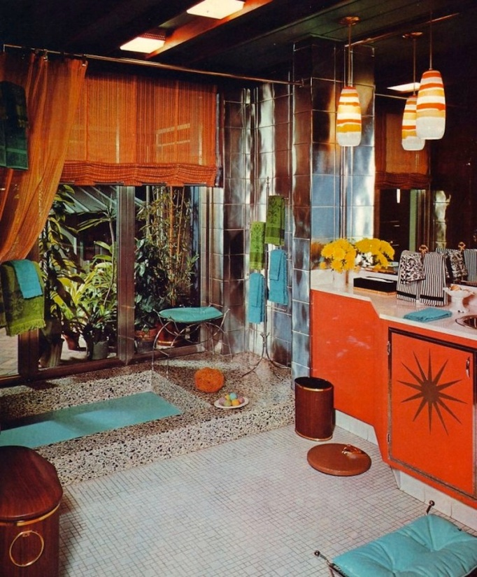 mid century 70's bathroom orange sunken terrazzo