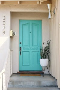 mid century front door porch turquoise bright blue aqua bullet planter cone light vintage mailbox
