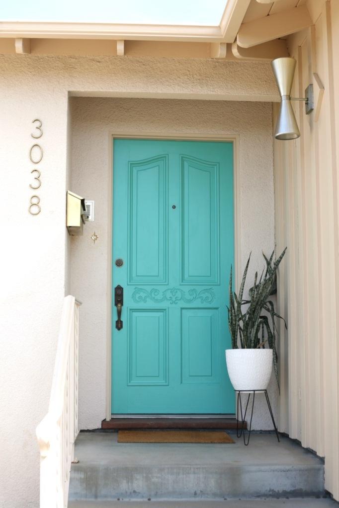 mid century front door porch turquoise bright blue aqua bullet planter cone light vintage mailbox