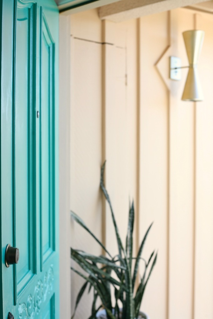 mid century turquoise front door entry cone light exterior