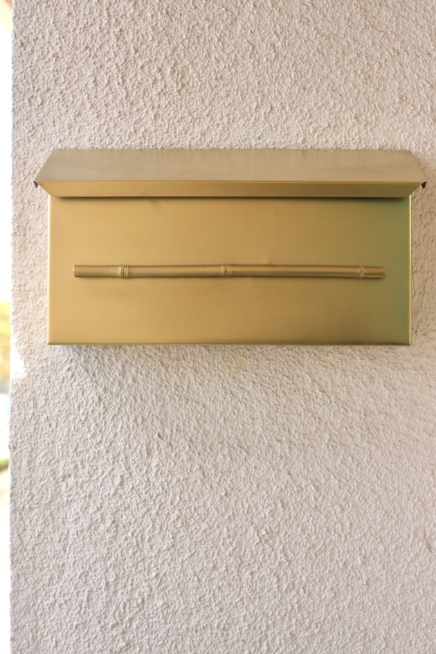 mid century letterbox mail box bamboo brass