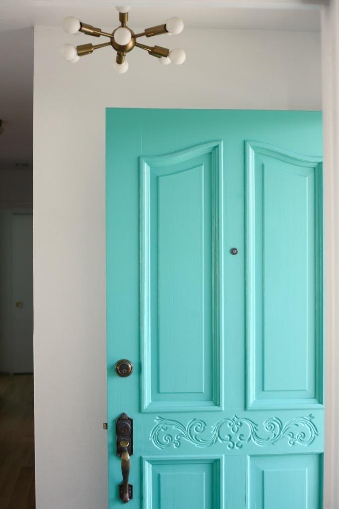 mid century turquoise front door sputnik entry light behr water park