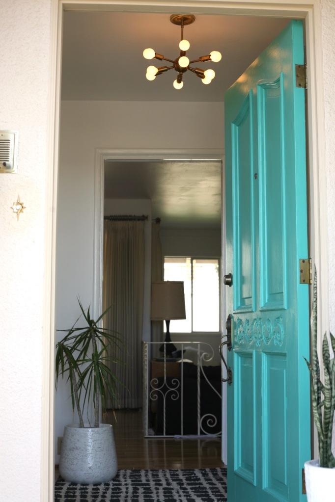 mid century turquoise aqua blue front door entry