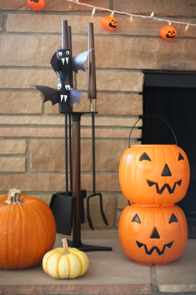 mid century halloween fireplace tool set