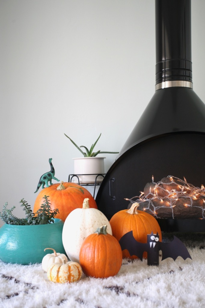 mid century halloween decorations pumpkins preway malm fireplace