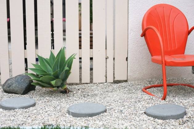 mid century orange motel chair patio agave attenuata