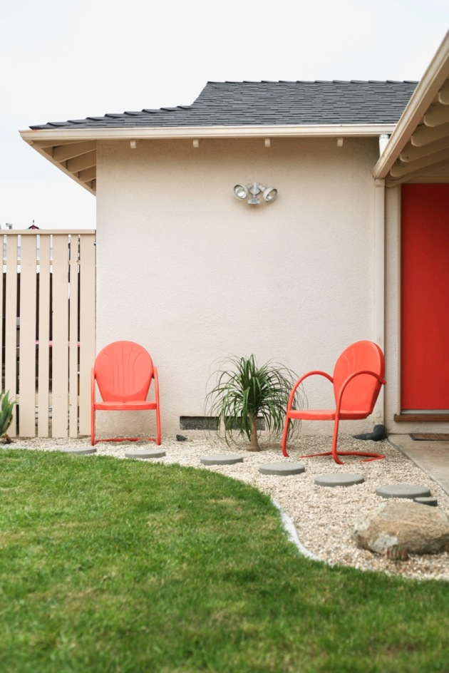 vintage orange motel chairs