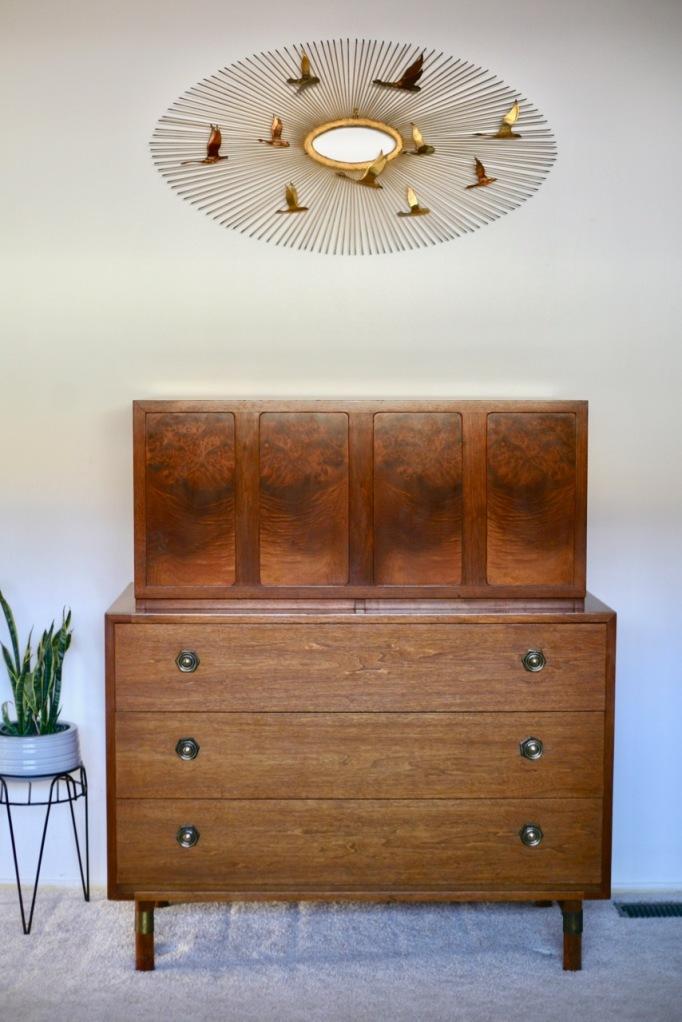 mid century red lion furniture high boy dresser burl