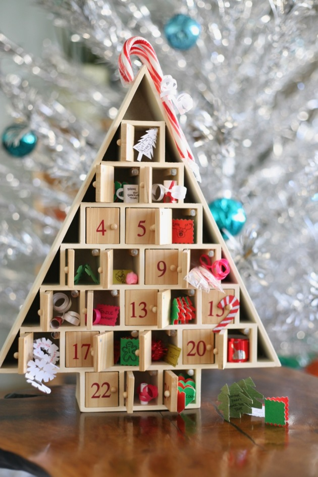 Christmas advent calendar tree wood doors paper activities candy canes aluminum tree mid century retro pink snowflakes ornaments