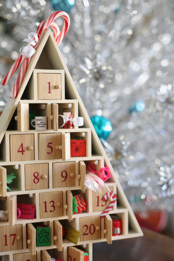 Christmas advent calendar tree wood doors paper activities candy canes aluminum tree mid century retro pink snowflakes ornaments