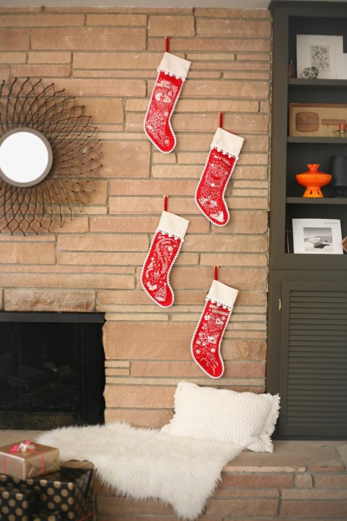 mid century vintage christmas stockings atomic glitter