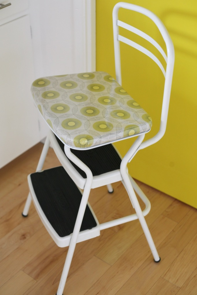 cosco step stool chair recover reupholster birch farm lightening bugs fabric yellow door kitchen vinyl