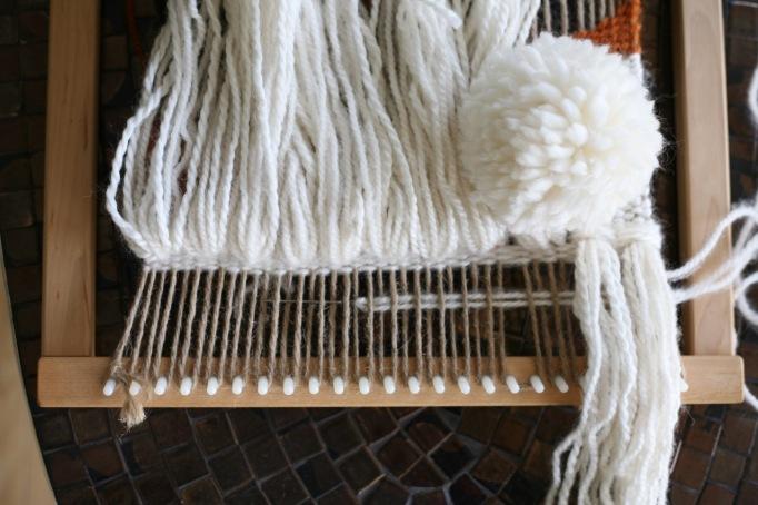 diy weaving pom pom fringe