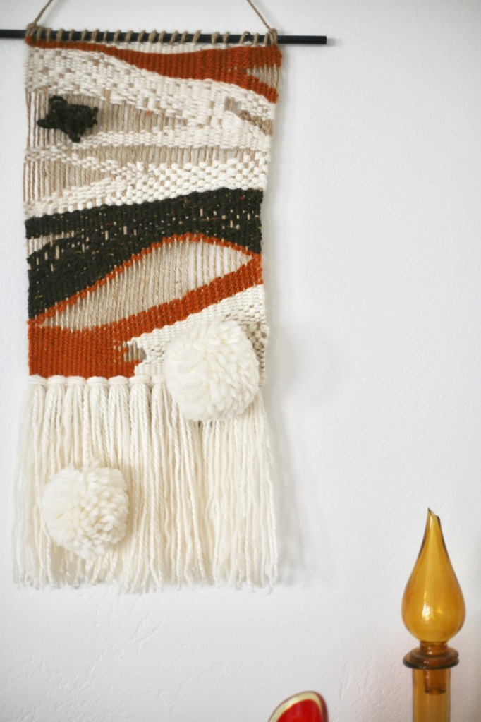 diy weaving pom pom fringe brown open