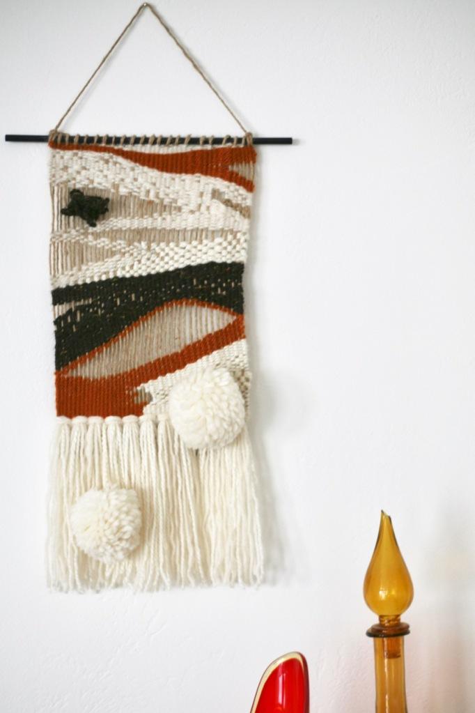 diy weaving pom pom fringe brown open