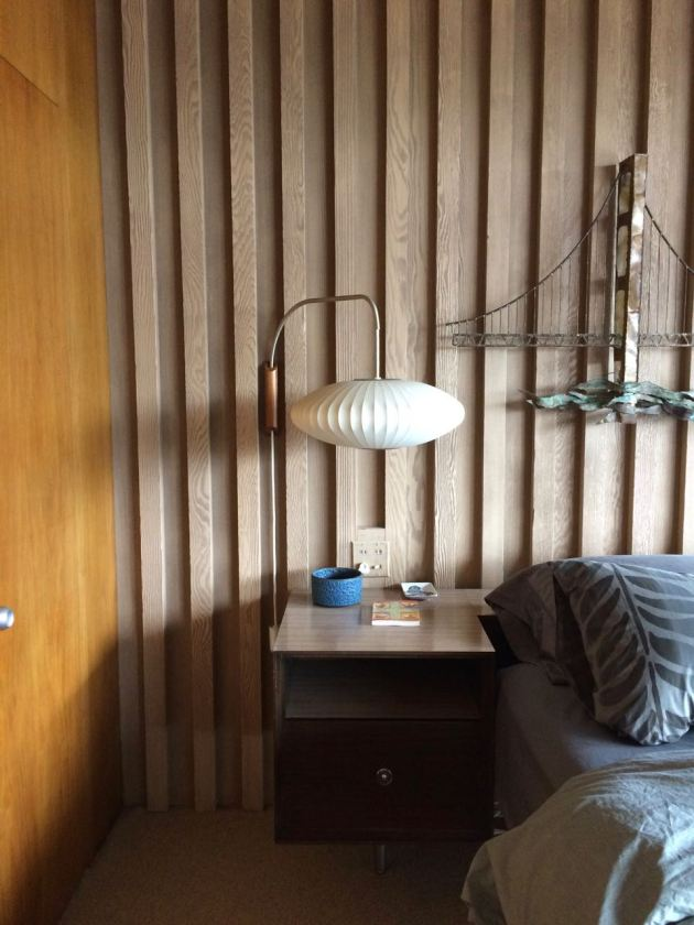 Edris House Bedroom Nelson lamp mid century sconce wood