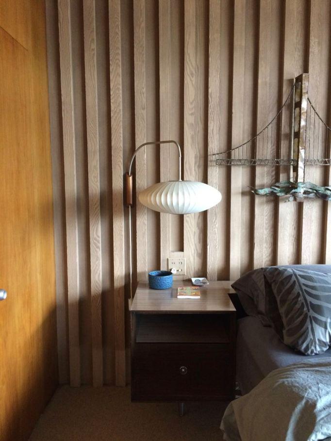Edris House Bedroom Nelson lamp mid century sconce wood