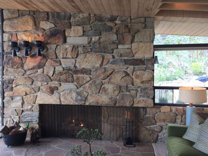 Edris House E Stewart Williams Palm Springs Desert Modern fireplace rock mid century sconces