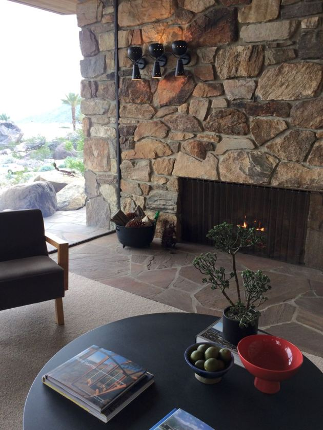 Edris House E Stewart Williams Palm Springs Desert Modern fireplace rock mid century