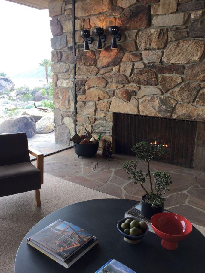 Edris House E Stewart Williams Palm Springs Desert Modern fireplace rock mid century