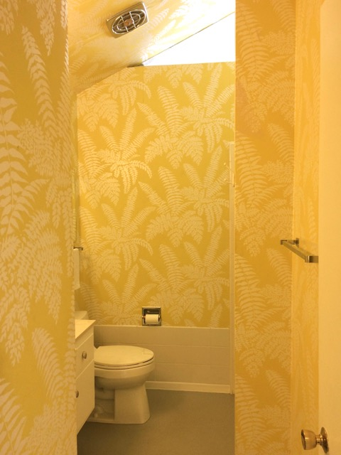 Royal Hawaiian Estates Palm Springs mid century yellow bathroom wallpaper polynesian