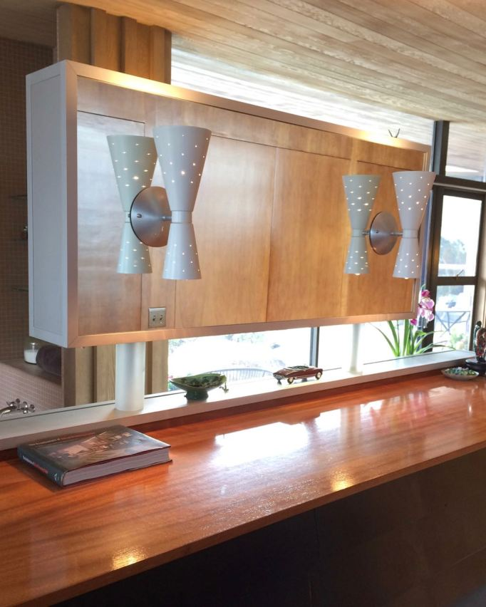 Edris House Bathroom mid century floating vanity cone sconce mirror