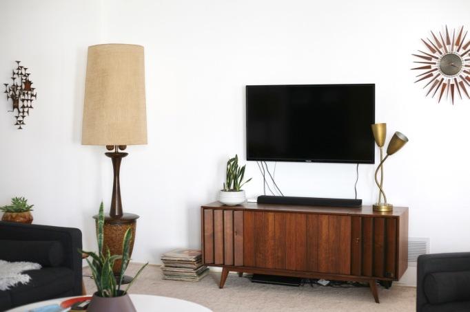 mid century tv television zenith stereo credenza console danish record cabinet vintage