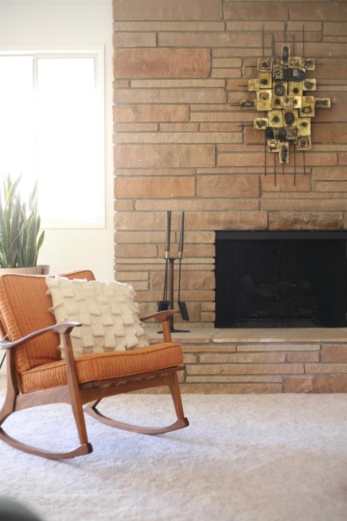 mid century family living room fireplace rocking chair danish teak