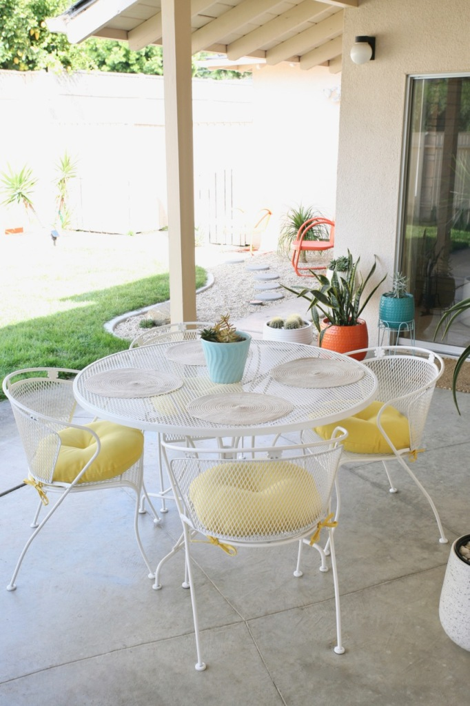 mid century backyard patio set dining chairs table wrought iron