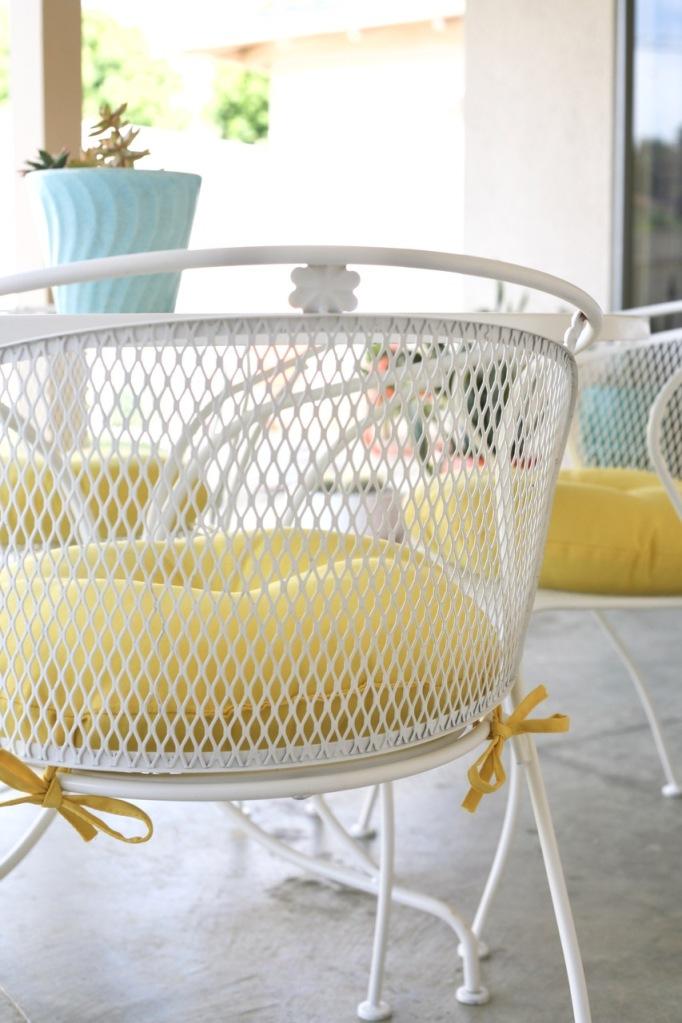 vintage mid century patio set white yellow chairs table flower wrought iron