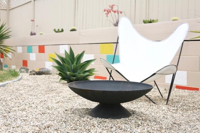 mid century modern landscape mosaic wall firepit fire pit esschert design butterfly chair