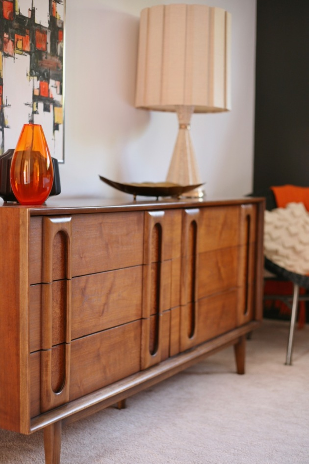mid century bedroom black orange lane dresser vintage