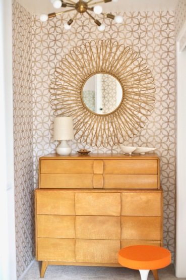 mid century dresser mirror heywood wakefield kohinoor closet retro gold wallpaper