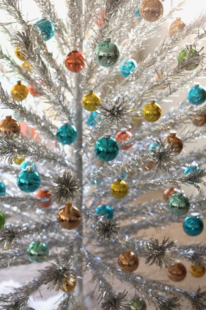 mid century Christmas aluminum tree ornaments glass blue orange turquoise shiny brite