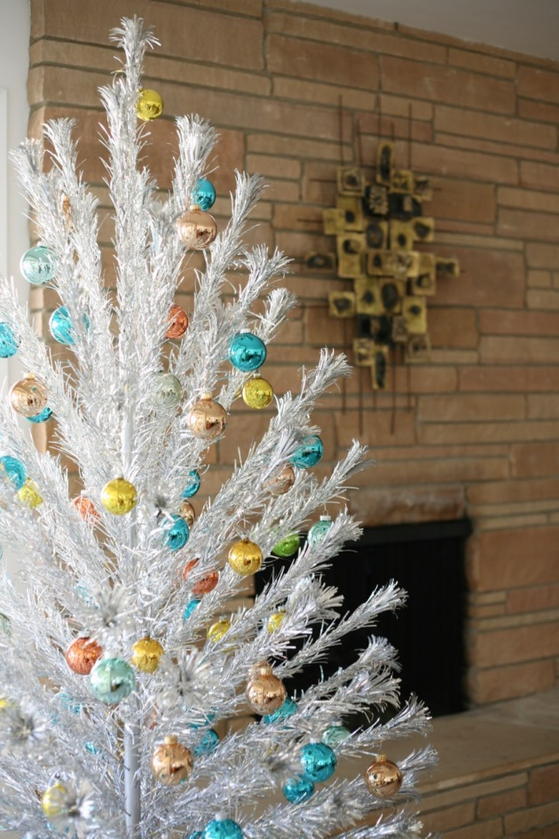 the tree skirt is just two ikea faux sheepskins mid century christmas aluminum tree ornaments glass blue orange turquoise shiny brite